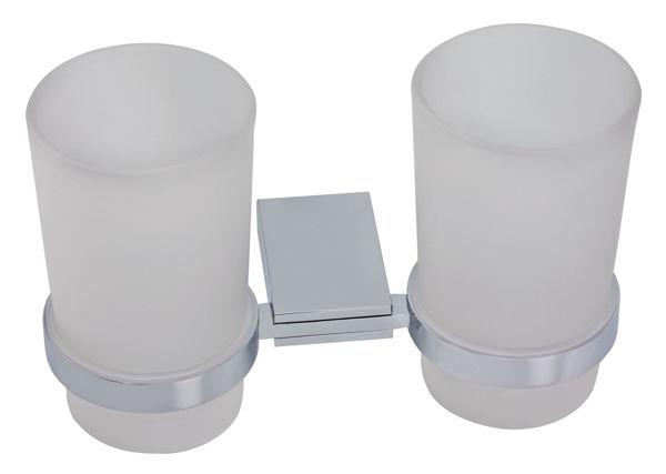 Снимка на Двоен държач за четки и паста за зъби стъкло Metalia 9 хром 0957.0