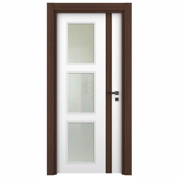 Снимка на Врата Variodor Red walnut VDМ-F-1-10C обикновена брава бяла със стъкло