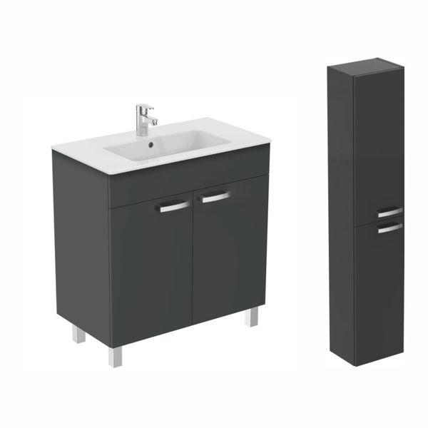 Снимка на Комплект  шкаф с мивка Tempo 80см + Колона Tempo (E0566TI+E0568TI+E066901)